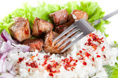 Fork on a dish with rice and meat — Stock Photo