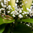Gold wedding rings on flower - Stock Photo