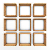 Wooden book shelf background — Stock Photo