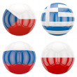 3D soccer balls with group A teams flags — Stock Photo