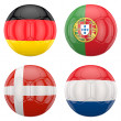 3D soccer balls with group B teams flags — Stock Photo