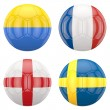 Stock Photo: 3D soccer balls with group D teams flags