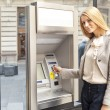 Stock Photo: Womusing Bank ATM machine