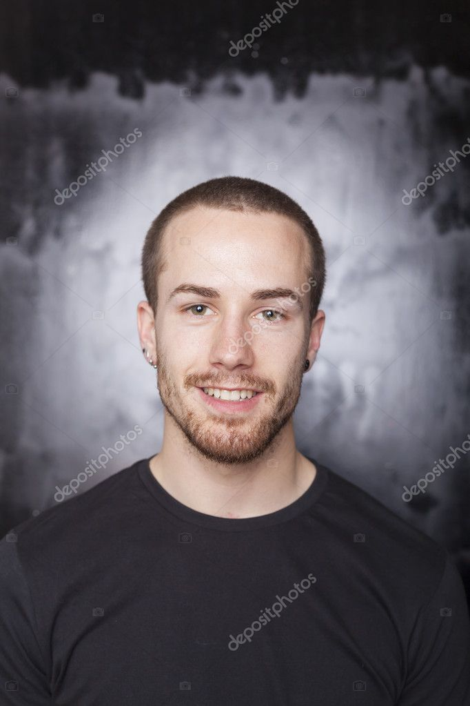 Good Looking Happy Young Man Portrait on black background — Stock Photo #10128285