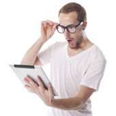 Surprised Nerd Man Looking at Tablet Computer — Stock Photo