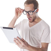 Good Looking Smart Man Looking On Tablet Computer — Stock Photo