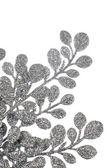 圣诞装饰银叶子 — 图库照片