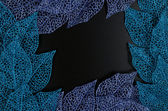 Blue and purple leaf frame — Stock Photo