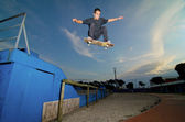 Skateboarder flying — Stock fotografie