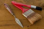Art brushes and spatula — Stock Photo
