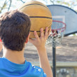 Boy Aiming Basketball — Stock Photo