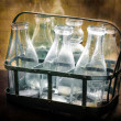 Antique glass milk bottles — Stock Photo