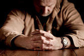 Man's Clasped Hands — Stock Photo