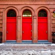 Three Red Doors — Stock Photo