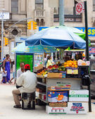Green Cart Street Vendor NYC — Stock Photo