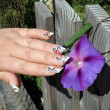 Stock Photo: Manicure and delicate flower