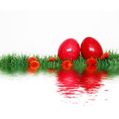Beautiful decoration with red eggs — Stock Photo