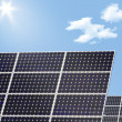 Solar panel and sun — Stock Photo