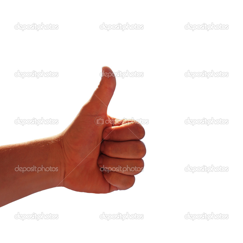 Men's hand make thumbs up — Stock Photo #9858269
