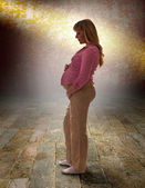 Silueta těhotná žena — Stock fotografie