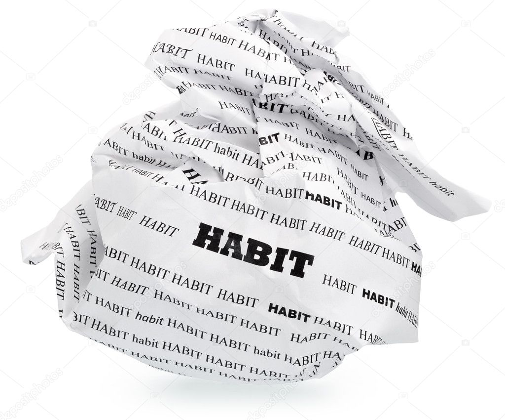 habit of destroying your aspirations stock photo copy sergieiev ball of crumpled paper conceptual text isolated clipping path expanding the zone of focus achieved by picking out a few photos photo by