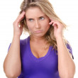 Blonde young woman wish doubt or headache — Stock Photo #8418777