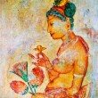 Ancient frescos on mount Sigiriya, Sri Lanka ( Ceylon ). — Stock Photo