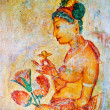 Ancient frescos on mount Sigiriya, Sri Lanka ( Ceylon ). - Stock Photo