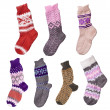 Hand-knitted woolen socks — Stock Photo