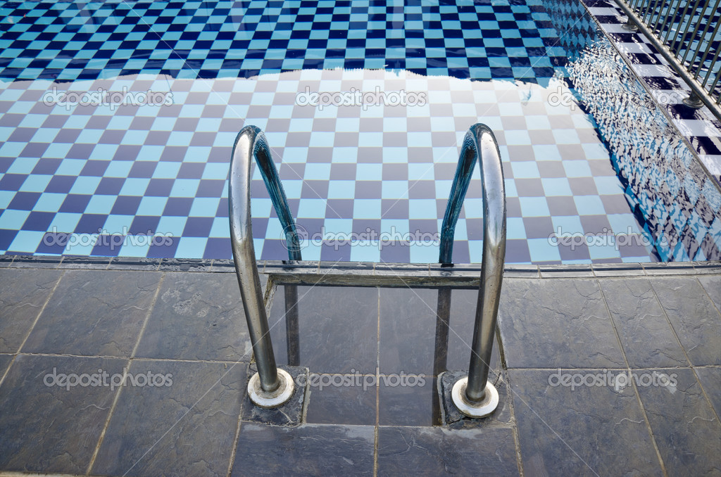 Swimming Pool with stair closeup — Stock Photo #9205719
