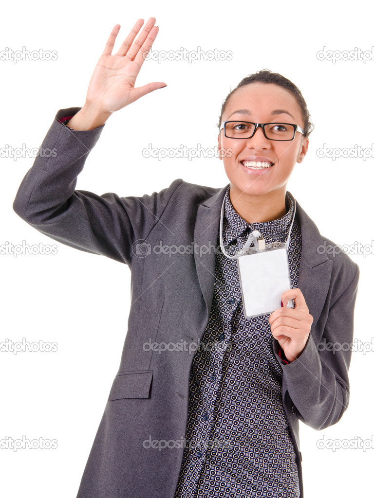 Portrait of a young business woman waving hand on a white background — Stock Photo #9206344
