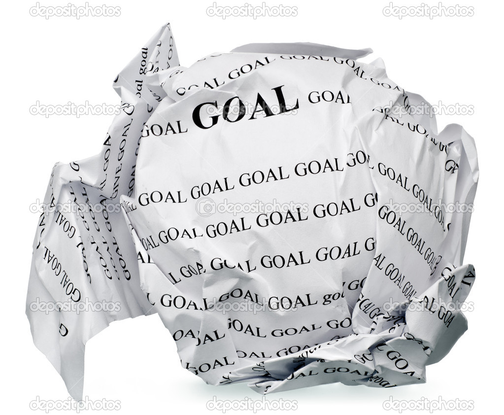 Paper ball with text  goal  and clipping path on a white background — Stock Photo #9206596