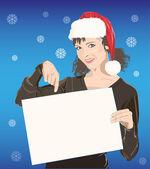 Young girl in Santa hat — Stock Vector