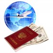 Registration of passport and visto departure on rest abroad — Stock Photo #10128549