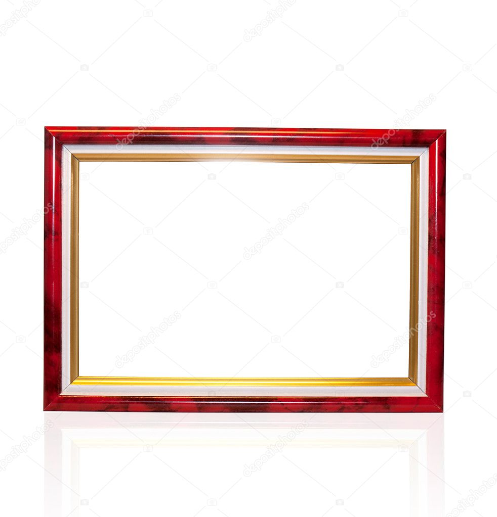 Decorative frame for a photo from red wood  on a white background — Stock Photo #10154327