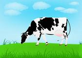 Kráva nad jarní zelená louka — Stock vektor