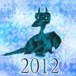 Stock Photo: Dark blue fantastic dragon-symbol 2012 New Years.