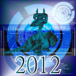 Dark blue fantastic dragon-symbol 2012 New Years. — Stock Photo