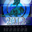 Dark blue fantastic dragon-symbol 2012 New Years.Calendar — Stock Photo