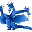 Dark blue fantastic dragon - Stock Photo