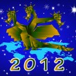 Fantastic dragon-symbol 2012 New Years. — Stock Photo