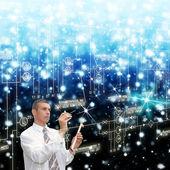 Concepção de sistemas inovadores de comunicação telecomunicações — Foto Stock