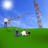 Engineering construction designing over greenfield — Stock Photo