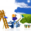 The dark blue dragon-house painter — Foto de Stock
