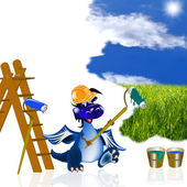 The dark blue dragon-house painter — Stock Photo