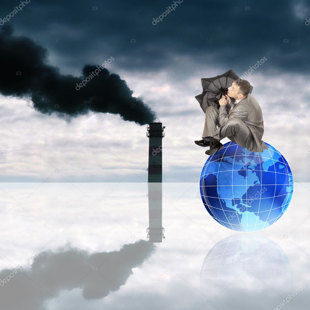 Harmful poisonous emissions from the industrial enterprises pollute environment and threaten with chemical rains — Stock Photo #9690714