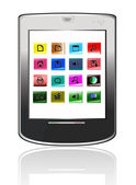 Silvery abstract tablet pc on white background — Stock Photo