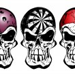 Stock Vector: Bowling, darts and billiard skulls