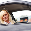 Smiling woman driver at wheel of car — Stock Photo #10343113