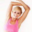 Woman stretching during a workout — Stock Photo
